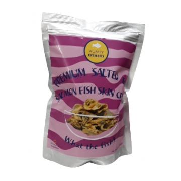 Premium Salted Egg Salmon Fish Skin Crisps (100g)